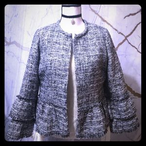 Chico's bell sleeve gray tweed peplum blazer, M